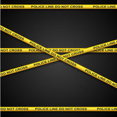 Police line yellow tape template with dark background. — Stock Vector
