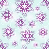 Seamless blue and purple flower buds vector wallpaper pattern. — Stock Vector