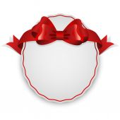Oval blank white label with red bow. — Cтоковый вектор