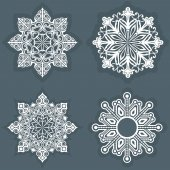 White snowflake shapes vector template. — Stock Vector