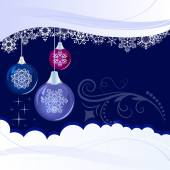Christmas blue background with hanging glossy decoration balls. — Stock Vector
