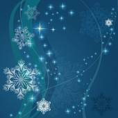 Christmas blue background with ornamental snowflake shapes. — Stock Vector
