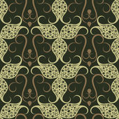 Abstract seamless green vintage floral vector pattern. — Stock Vector