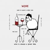 Funny sheep, drinking wine, vector — Stock Vector