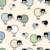 Seamless patter, funny sheep — Stock Vector