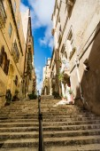 Street in Valletta with stairs — Stock Photo