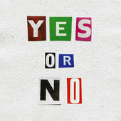Concept of choice yes or no, on handmade paper — Stock Photo