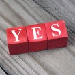Word yes on wooden blocks — Stock Photo #53044775