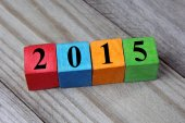 Concept of Happy New year 2015 on wooden colorful cubes — Stockfoto
