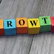 Concept of growth word on wooden colorful cubes — Stock Photo #58584147