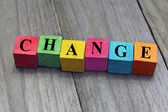 Concept of change word on wooden cubes — Stock Photo