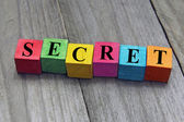 Concept of secret word on wooden cubes — Stock Photo