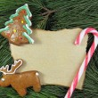 Blank christmas card on fir tree with homemade gingerbreads — Stock Photo #59833027