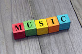 Concept of music word on wooden cubes — Stock Photo