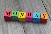 Concept of monday word on wooden cubes — Stock Photo