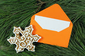 Open envelope with snowflake and fir tree — Stock Photo