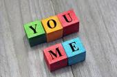 You and me words on colorful wooden cubes, concept of dating — Stock Photo