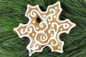 Homemade gingerbread on fir tree — ストック写真