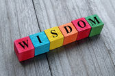 Concept of wisdom word on colorful wooden cubes — Stock Photo