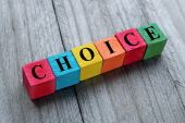 Concept of choice word on colorful wooden cubes — Stock Photo