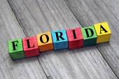 Word florida on colorful wooden cubes — Stock Photo