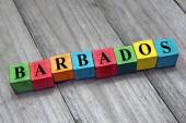 Word Barbados on colorful wooden cubes — Stock Photo
