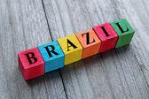 Brazylia słowo na kolorowe drewniane kostki — Zdjęcie stockowe