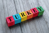 Word Turkey on colorful wooden cubes — Stock Photo