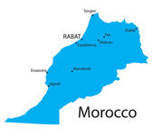 Blue map of Morocco with indication of biggest cities — Stock Vector