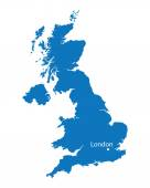 Blue map of United Kingdom with the indication of London — Stock Vector