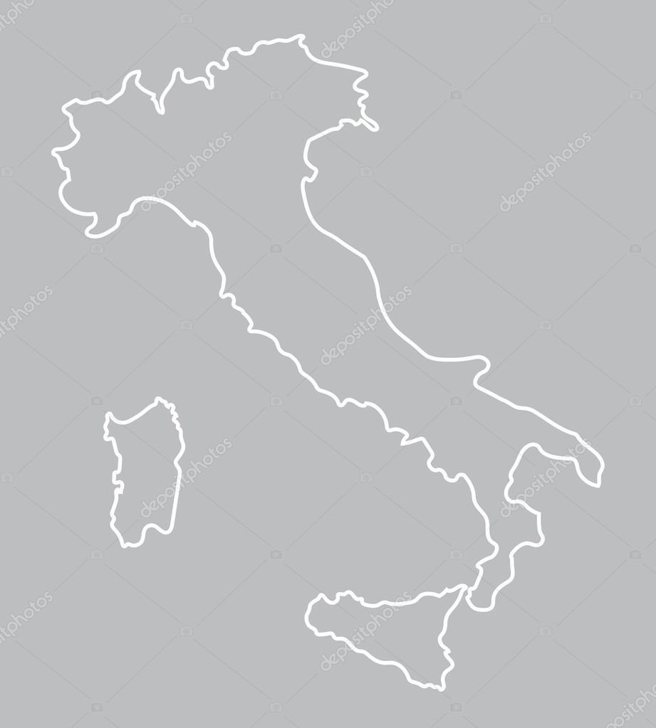 白色抽象轮廓的意大利地图