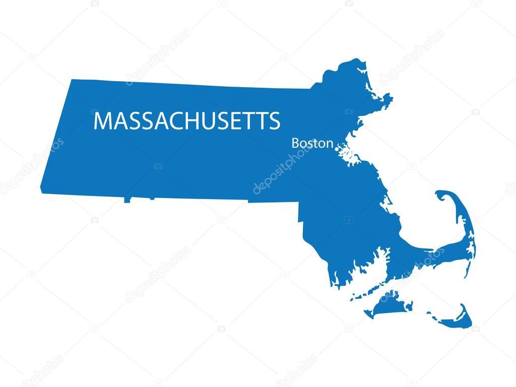 蓝色地图的马萨诸塞州,波士顿的征兆