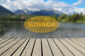 Concept of vacation in Slovakia, mountain lake in the background — Stock Photo