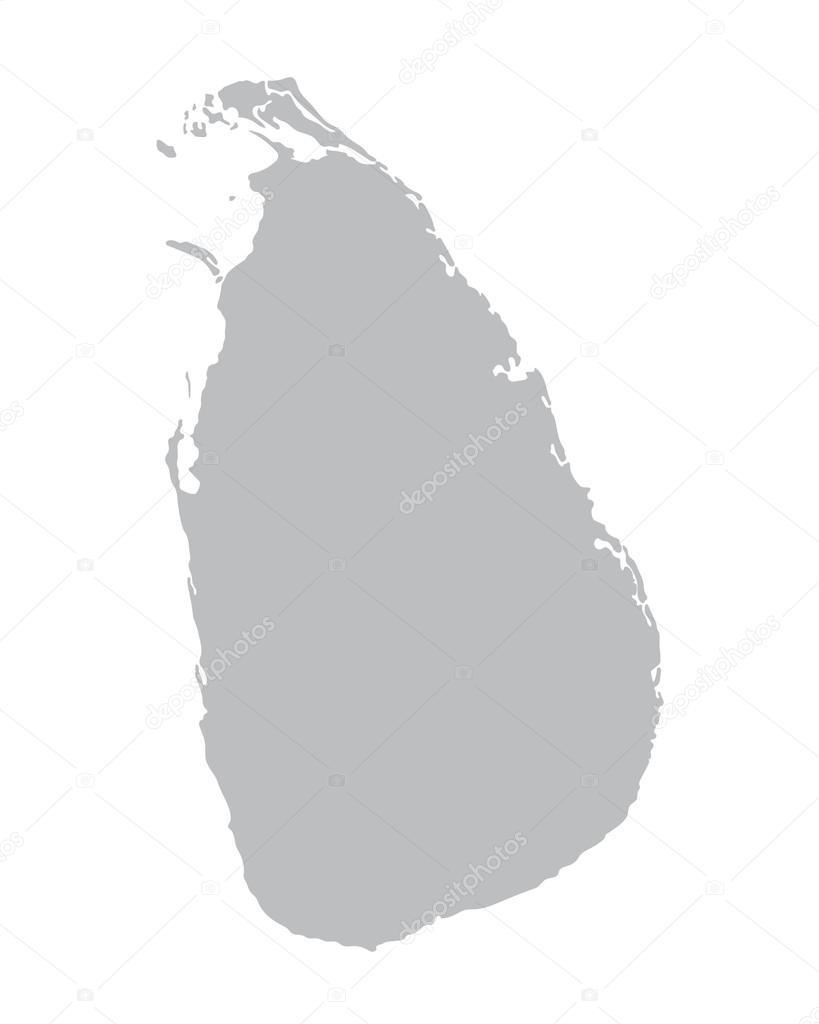 灰色矢量地图的斯里兰卡