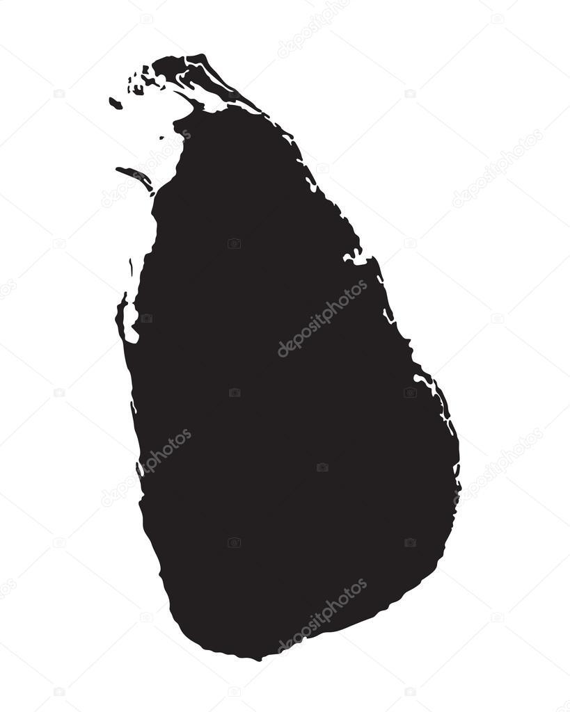 黑色矢量地图的斯里兰卡