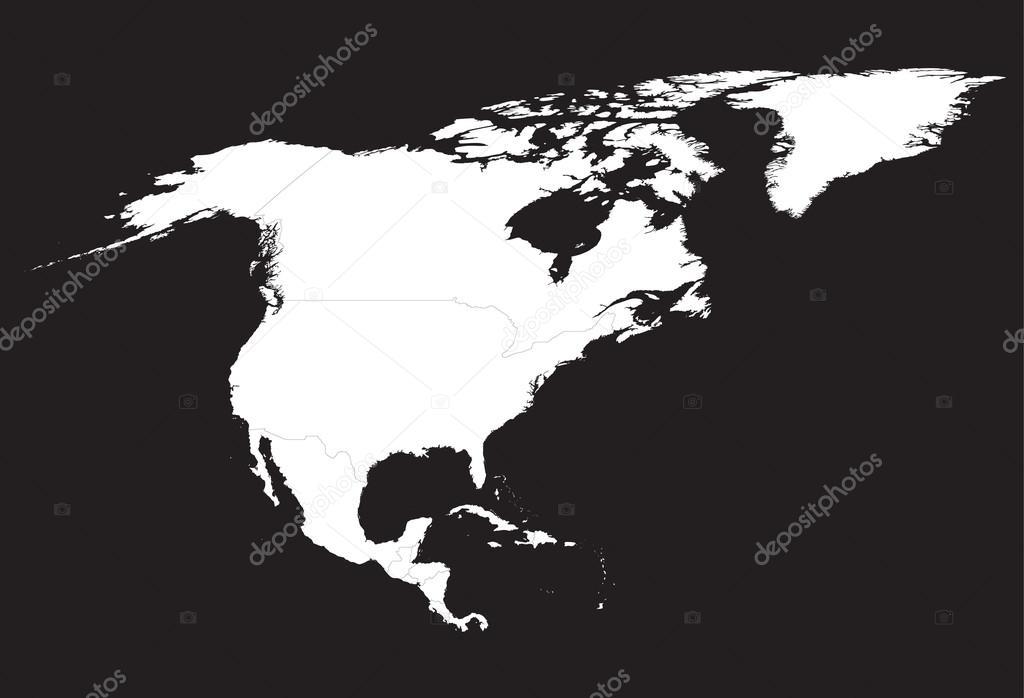 黑色和白色的北美地图