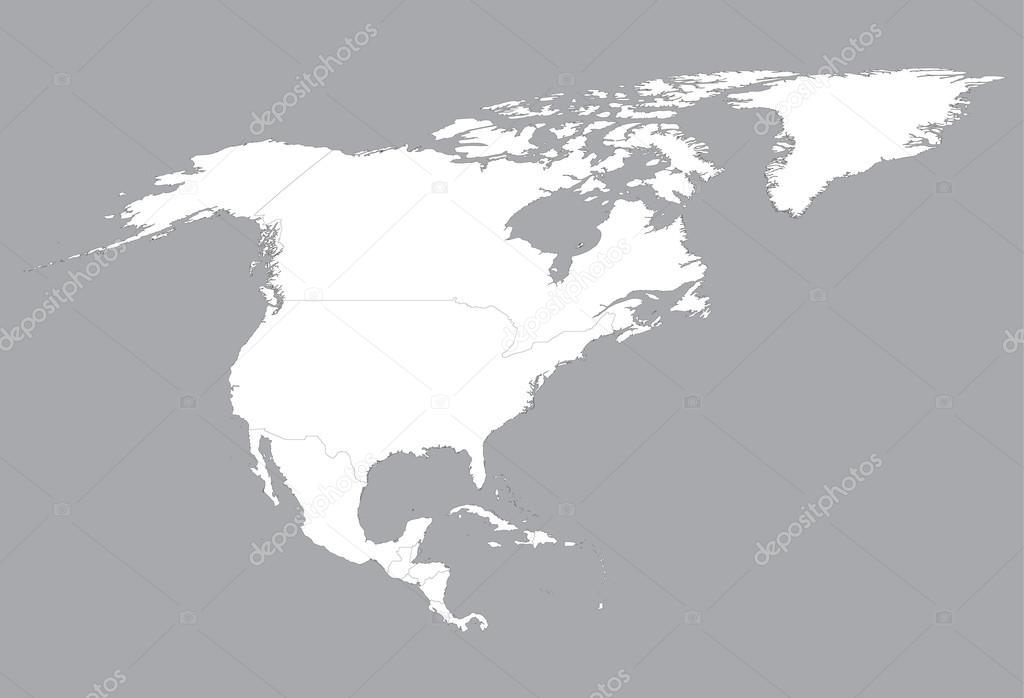 白色的北美地图