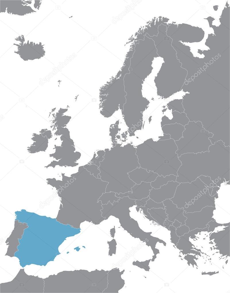 灰色的欧洲矢量地图,以西班牙的征兆