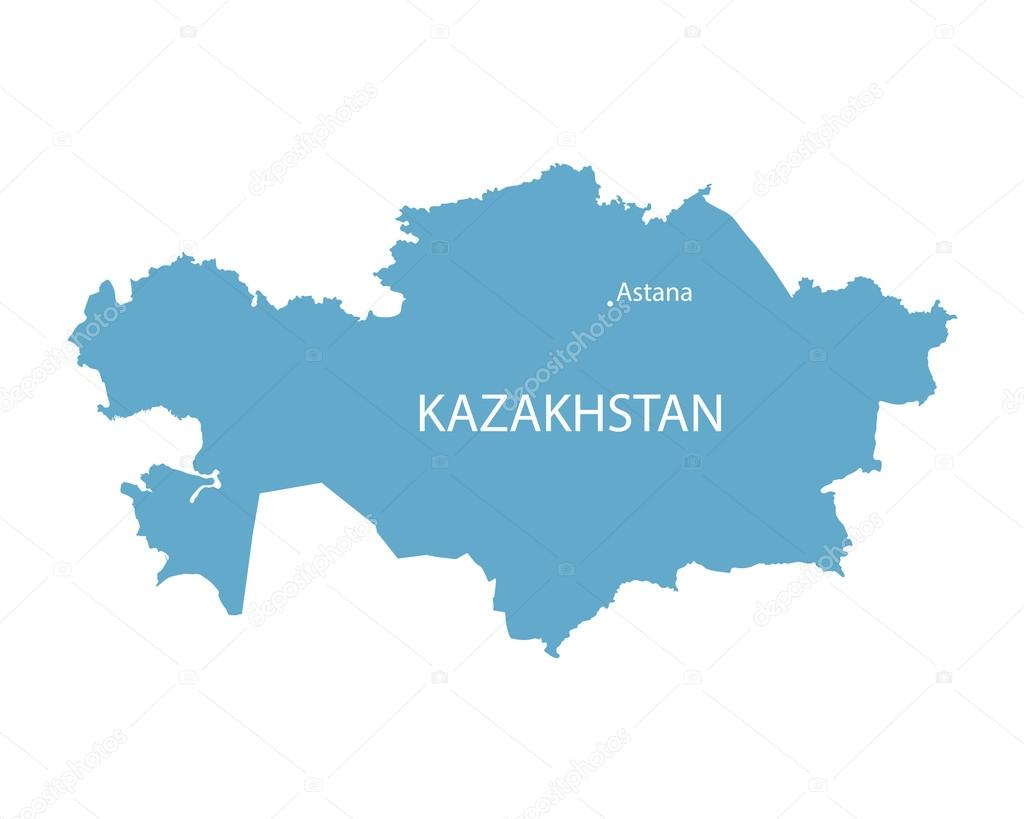 蓝色的地图的哈萨克斯坦阿斯塔纳的征兆