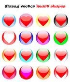 Glassy vector heart shapes — Vector de stock