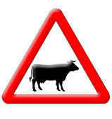 Cow crossing traffic sign — Stock Photo