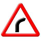 Dangerous turn sign — Stock Photo