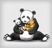 Panda sitting with her child and little baby tiger vector illust — Stock Vector
