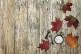 Composition with old pocket watch, rusty keys and leaves. — Stock Photo