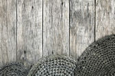 Grunge style decoration with old handmade crochet doilies. — Stock Photo