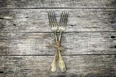 Beautiful decoration with two antique forks. — Stock Photo