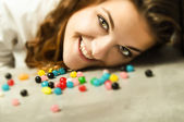 Candy moment for girl — Foto Stock