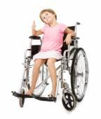 Handicap girl thumbing up — Stock Photo