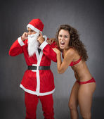 Santa Claus with woman — ストック写真
