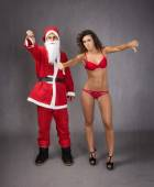Santa Claus with woman — Stock Photo